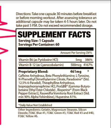 Shred Fat Burner Supplement Facts